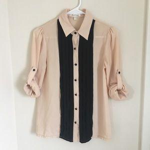 EUC blush tuxedo shirt